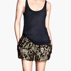 H&M Shorts - H&M Trend Black & Gold Sequin Embroidered Shorts