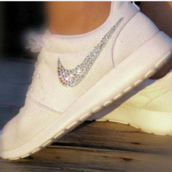 Last One! Nike Roshe White w/ Swarovski Crystals
