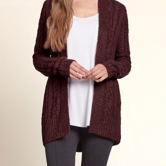 Hollister - Burgundy cable knit cardigan from Jocelyn's closet on ...