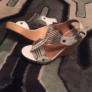 Steve Madden Shoes - Steve Madden white and silver wedge sandal