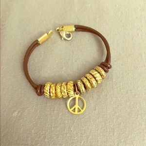 Jewelry - Brown Leather and Gold Peace Bracelet
