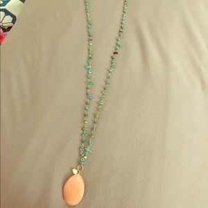 Jewelry - Turquoise Beaded Necklace with Pink Stone