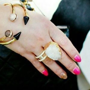T&J Designs Jewelry - t&j Designs Gold Dipped Druzy Ring white stone