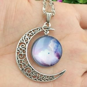 Jewelry - Silver Moon Clouds Sky Necklace
