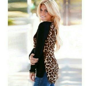 Tops - Sale♡NWOT Black & Leopard Long Sleeve Top♡