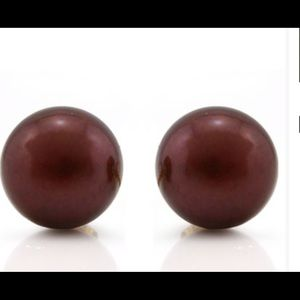 Jewelry - Chocolate 9mm Pearl 14K Gold Earrings‼️