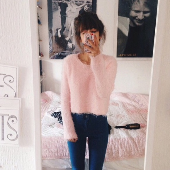 65% off American Apparel Sweaters - Blush Fuzzy Cropped Sweater ...