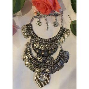 Bohemian bib coin necklace