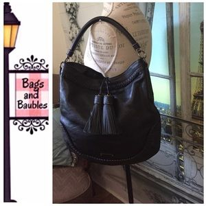 Burberry Handbags - NWT BURBERRY Woven Black Leather Tassel Hobo