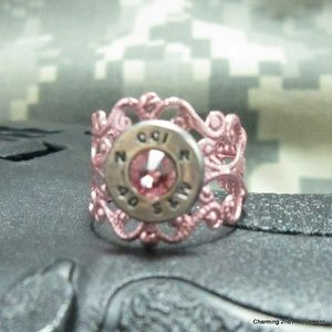 Jewelry - 40 caliber bullet light pink adjustable ring