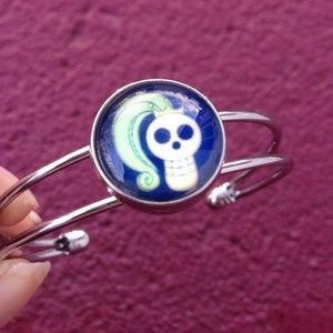 Snap Button Bracelet and Skull Charm