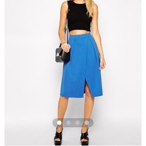 Blue split midi skirt
