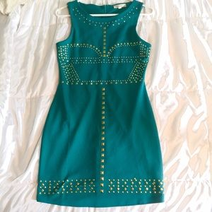 Alythea teal fitted dress w/ gold studded detail