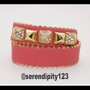 Juicy Couture Leather Dbl Wrap Pyramid Bracelet