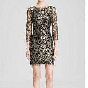 DVF Zarita black and gold lace dress