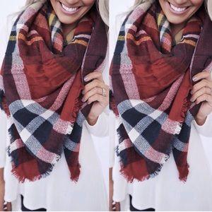 Red & Blue Plaid Blanket Scarf ❤️