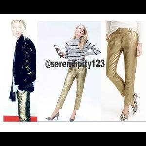 J. Crew Ludlow Pant in Gold Linen – SZ 0 - NWTNWT for sale
