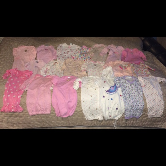 Various Pajamas | Huge Lot Of Baby Girl Sleeper Gowns 20 Pieces 06m ...