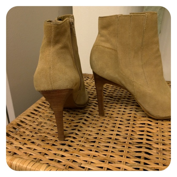 78 shoes camel colored suede high heel ankle boots