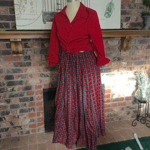VINTAGE Christmas Plaid Tartan Skirt