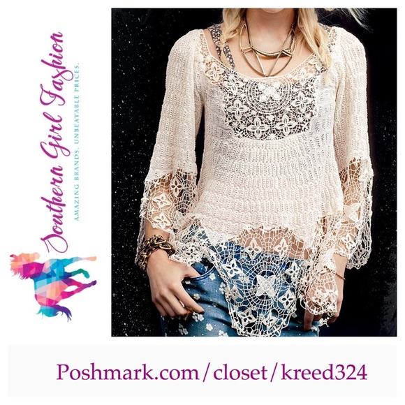 Free People Tops - FREE PEOPLE Tunic Crochet Bohemian Lace Blouse f776848a6