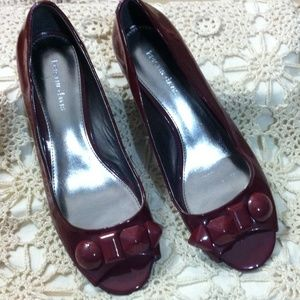 Red patent leather flats