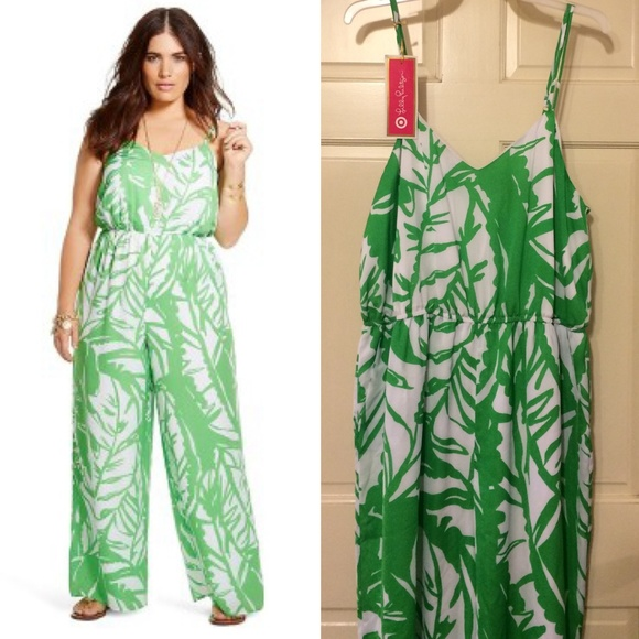 df8762d3fe7 Lilly Pulitzer For Target Green White Jumpsuit 2XL