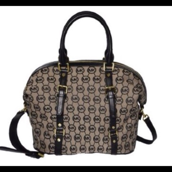 2fb57d7b9677c Michael Kors Large Bedford Circle Monogram Satchel.  M 566b6f31feba1f628d026045
