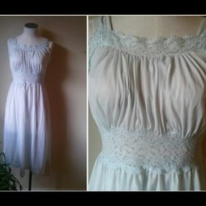Vintage 60's Light Blue Nightgown Lace and Ribbon