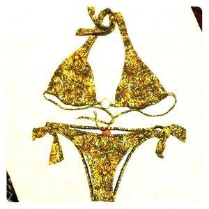 Red Carter Halter Top Brazilian Cut Back Bikini