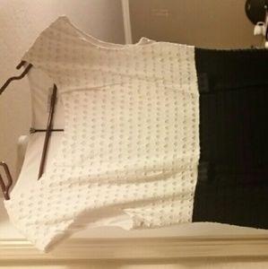 Dress barn Navy Blue and White sheath dress