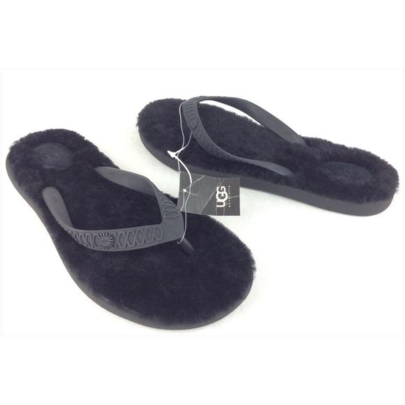 black ugg fluffie flip flops