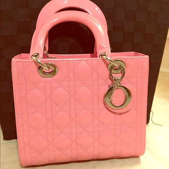 88% off Dior Handbags - Dior bag-Lady Dior.pink, patent leather ...