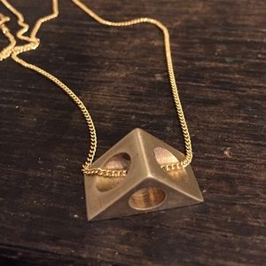 3D pyramid triangle necklace