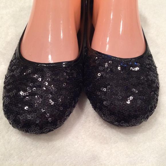 Deb New Black Sequin Flat Shoes Size