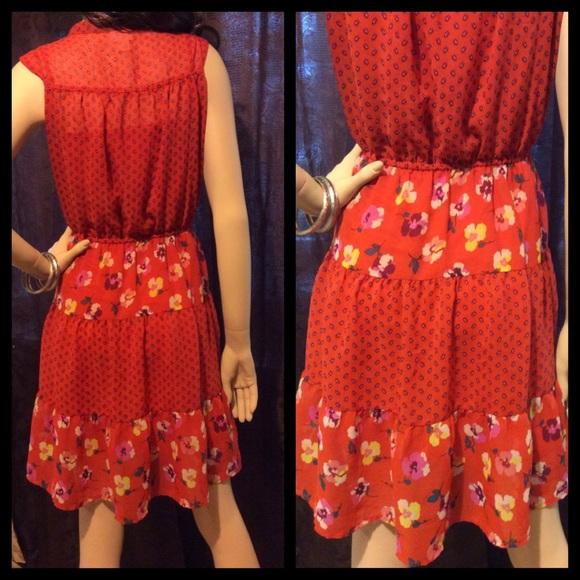 Supply co dresses modern coral orange empire waist flirty dress l