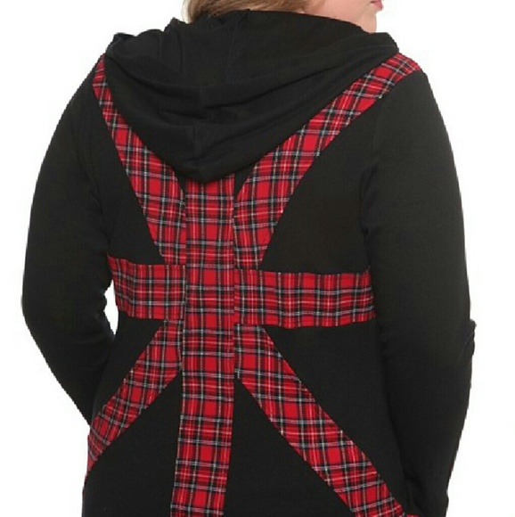 Tripp Nyc Tripp Red Plaid Hoodie Plus Size 2 Nwt From