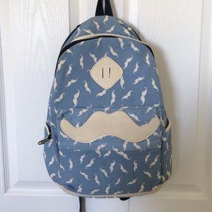NA Handbags - FLASH SALE💥 Light Blue Mustache Backpack