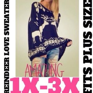 Sweaters - Reindeer 💕Love💕Sweater Plus Size 1x-3x ✨2 Left!✨