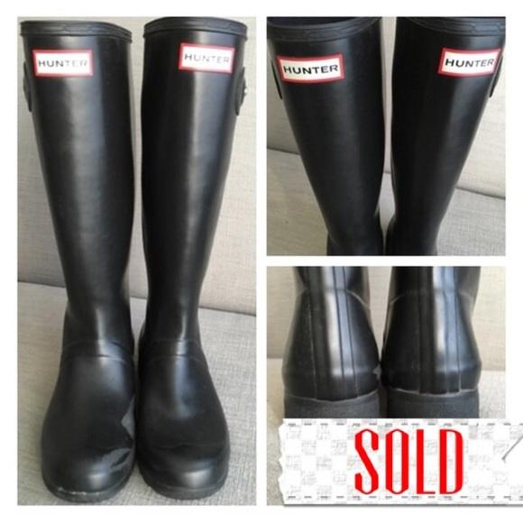 33% off Hunter Shoes - Hunter Tall Black Matte Rain Boots women ...