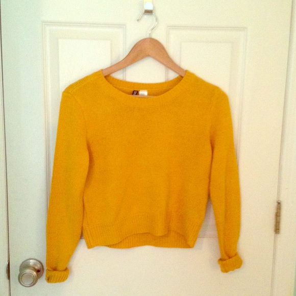 47% off H&M Sweaters - Mustard Yellow Close Knit Cropped Sweater ...