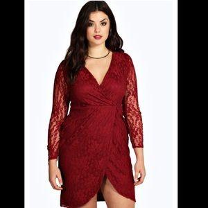Lace wrap front dress