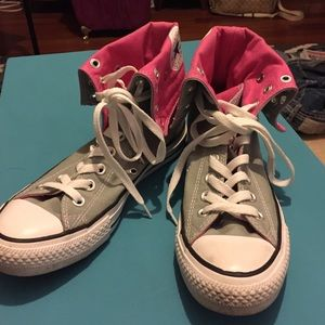 1cf2bdebf3f5 Converse Shoes - Pink and gray high top