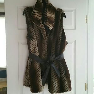 Via Spiga Jackets & Coats - Via Spiga Faux Fur Vest Plus Size