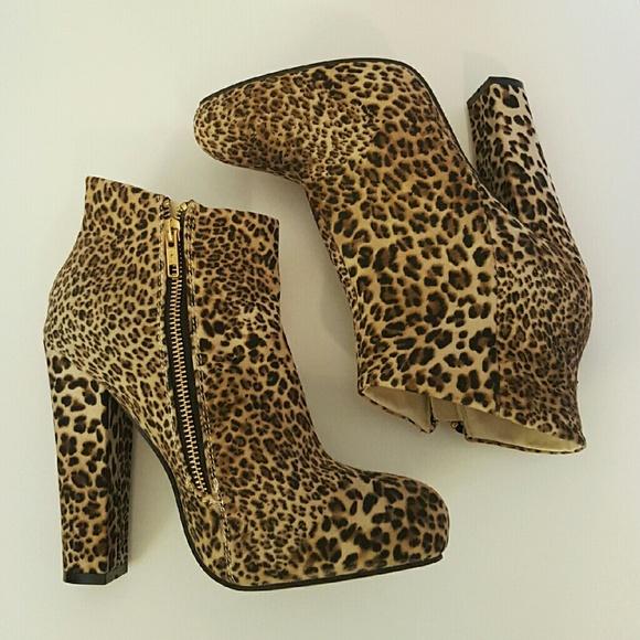 Leopard Print Chunky Heel Ankle Booties