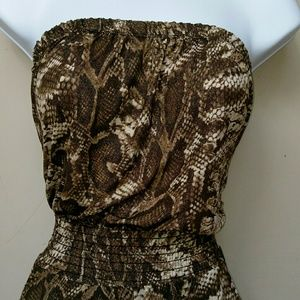 Pants - Halter style snake print romper.