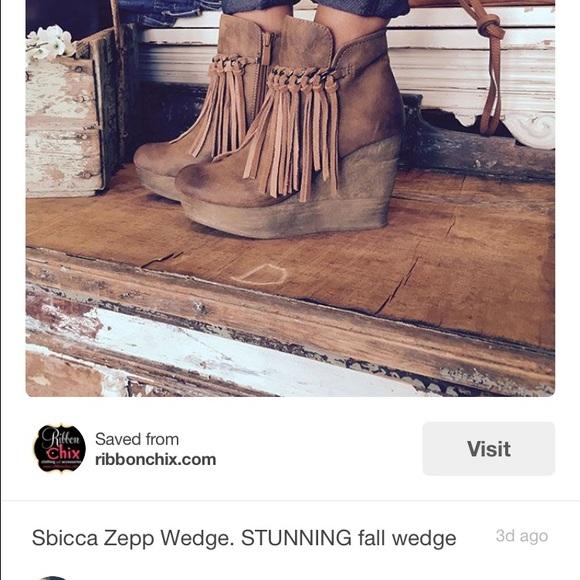 9b9e6a34638 Sbicca Zepp fringe wedge bootie size 7.5. M 566c8fa615c8af9c8d038f61