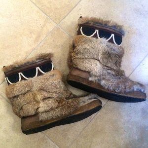 Tory Burch Leather and Rabbit Boots
