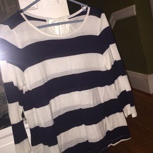 LOFT blue and white stripe long sleeve