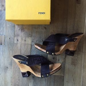 Fendi Zoccolo Wooden Wedges